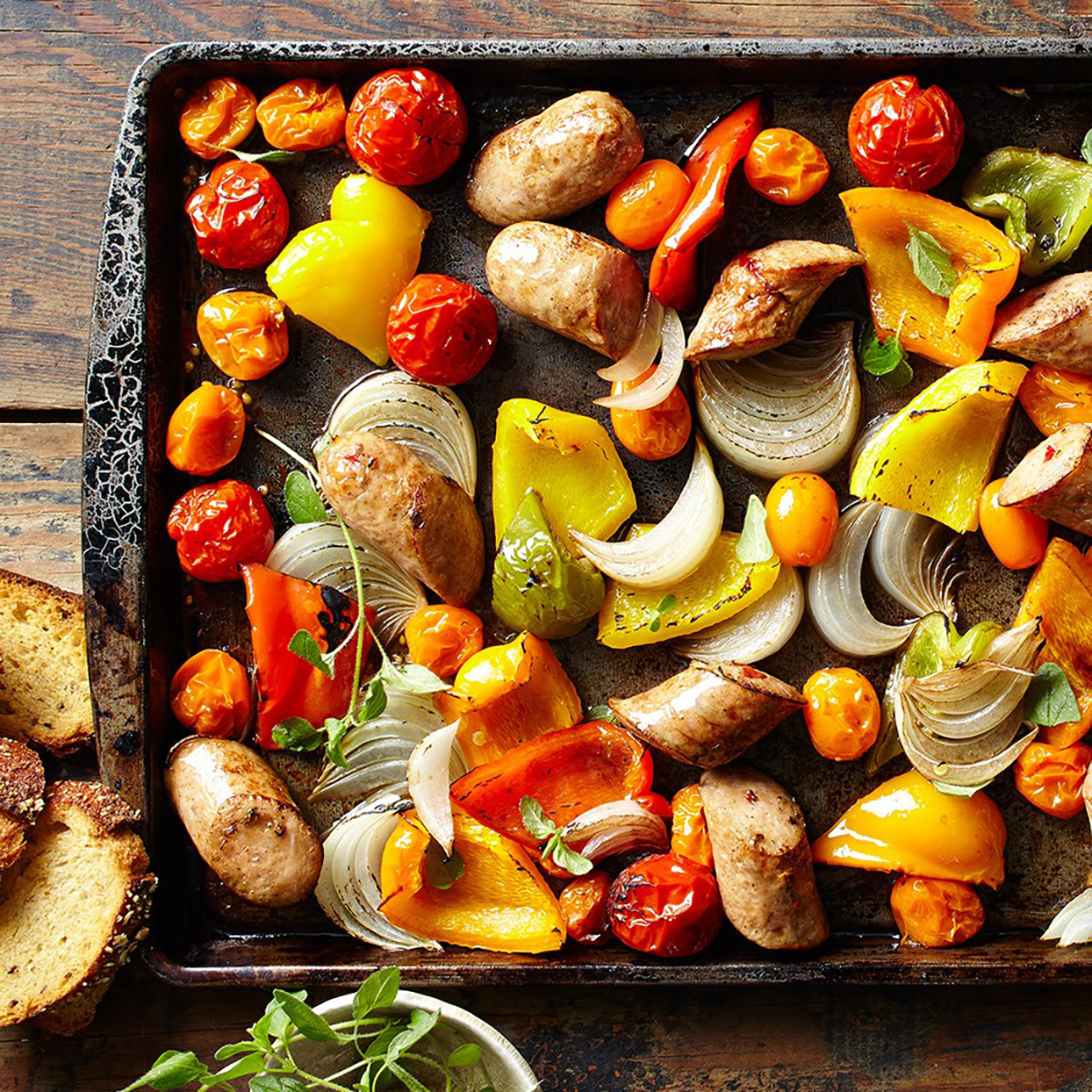 Colorful peppers and tomatoes and sweet onion make this sausage dinner pop with fresh flavor. Roasting instead of sautéing makes this even easier for a busy weeknight. Source: Diabetic Living Magazine