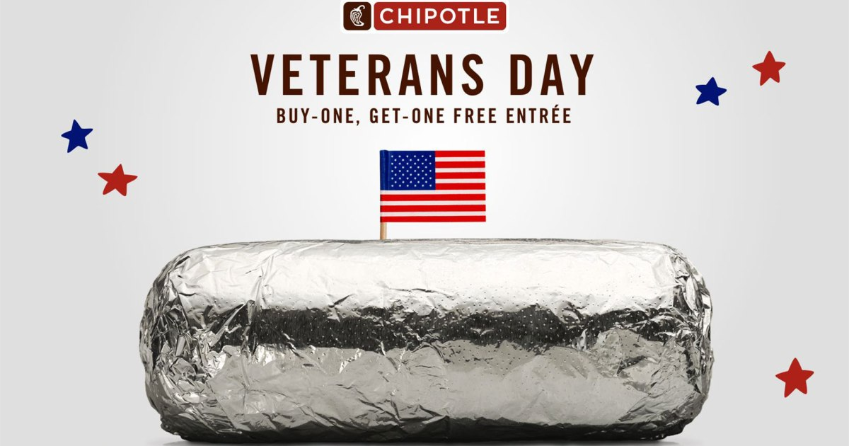 Chipotle Veterans Day Buy-One, Get-One Free Entree