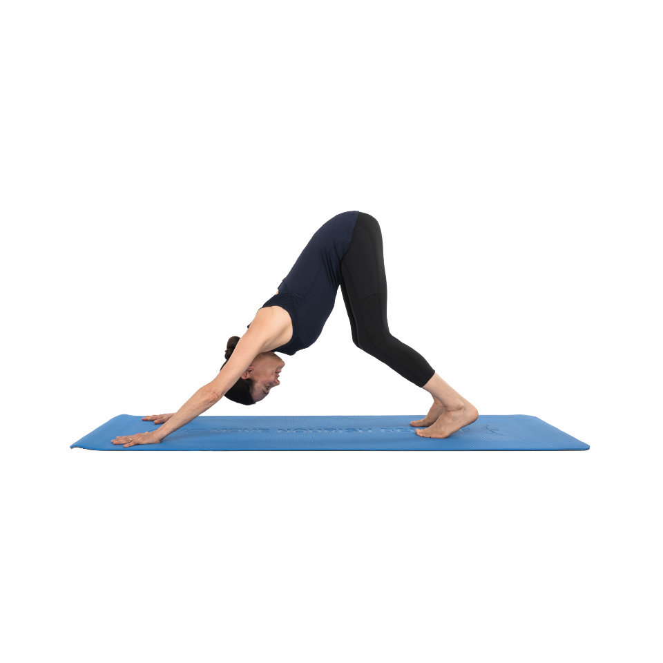downward dog with bent knees yoga pose
