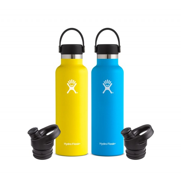 2 hydroflasks, 1 yellow and 1 blue with alternate lids