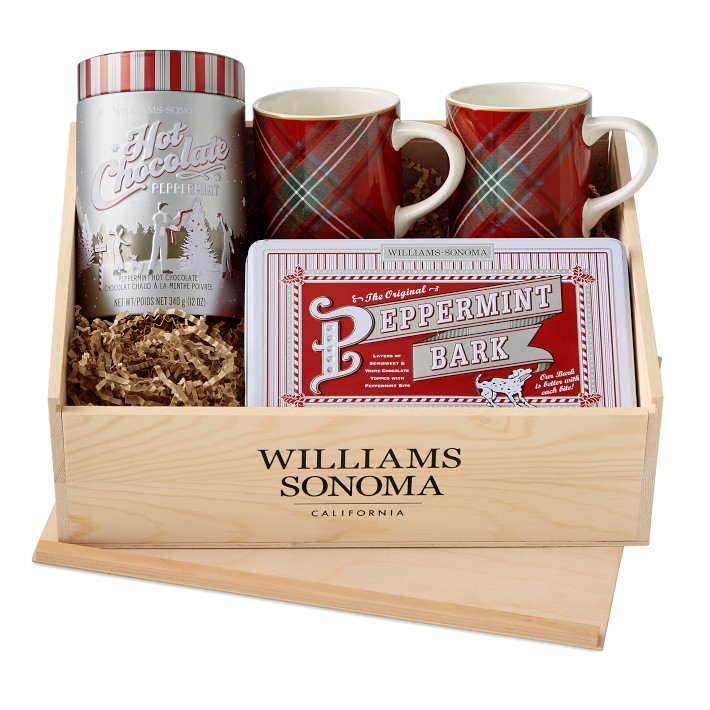 Williams Sonoma Peppermint Cocoa and Peppermint Bark Tartan Gift Set