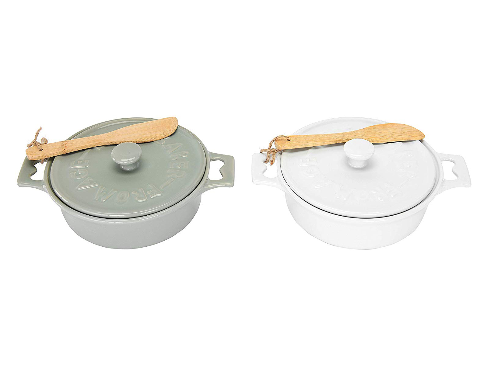 Brie baking dishes with lids and wooden spreaders - in white and sage green/gray