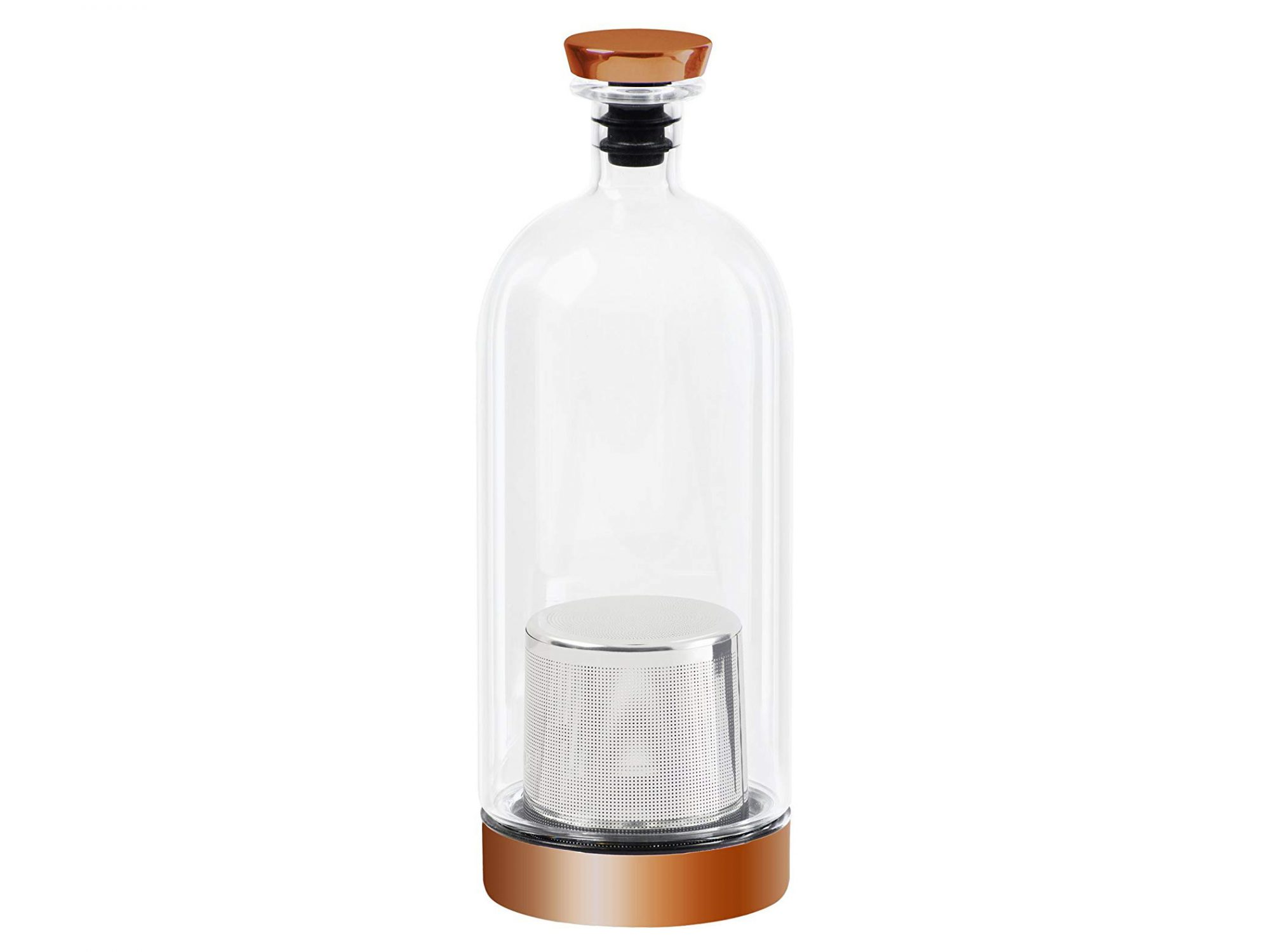 Infusion Vessel - glass bottle with brass lid and base with metal net inside