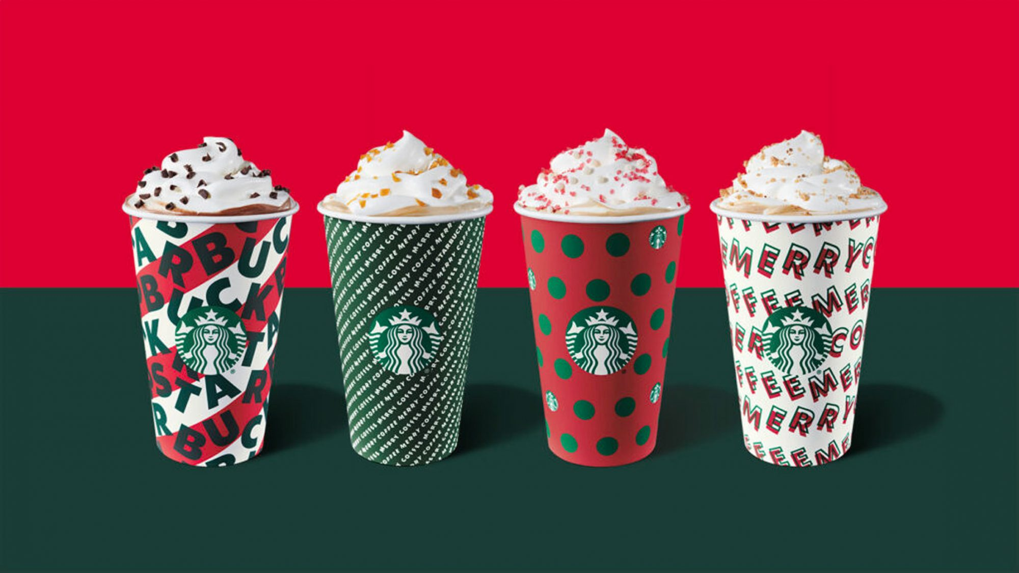 Starbucks holiday drinks with whipped cream