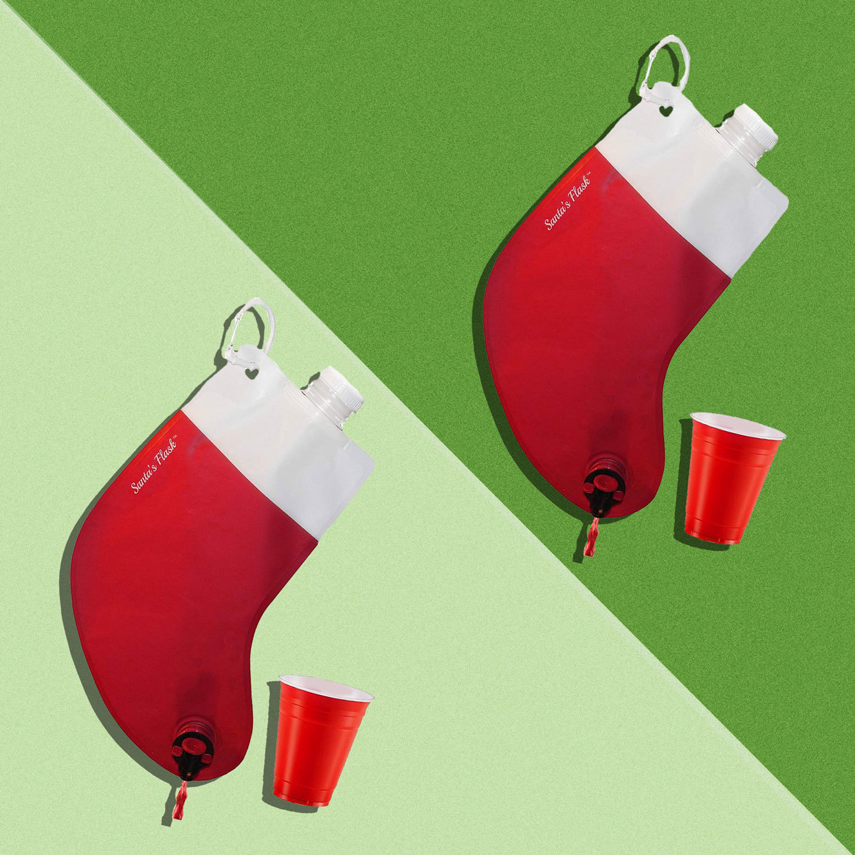 wine flask in the shape of a Christmas stocking