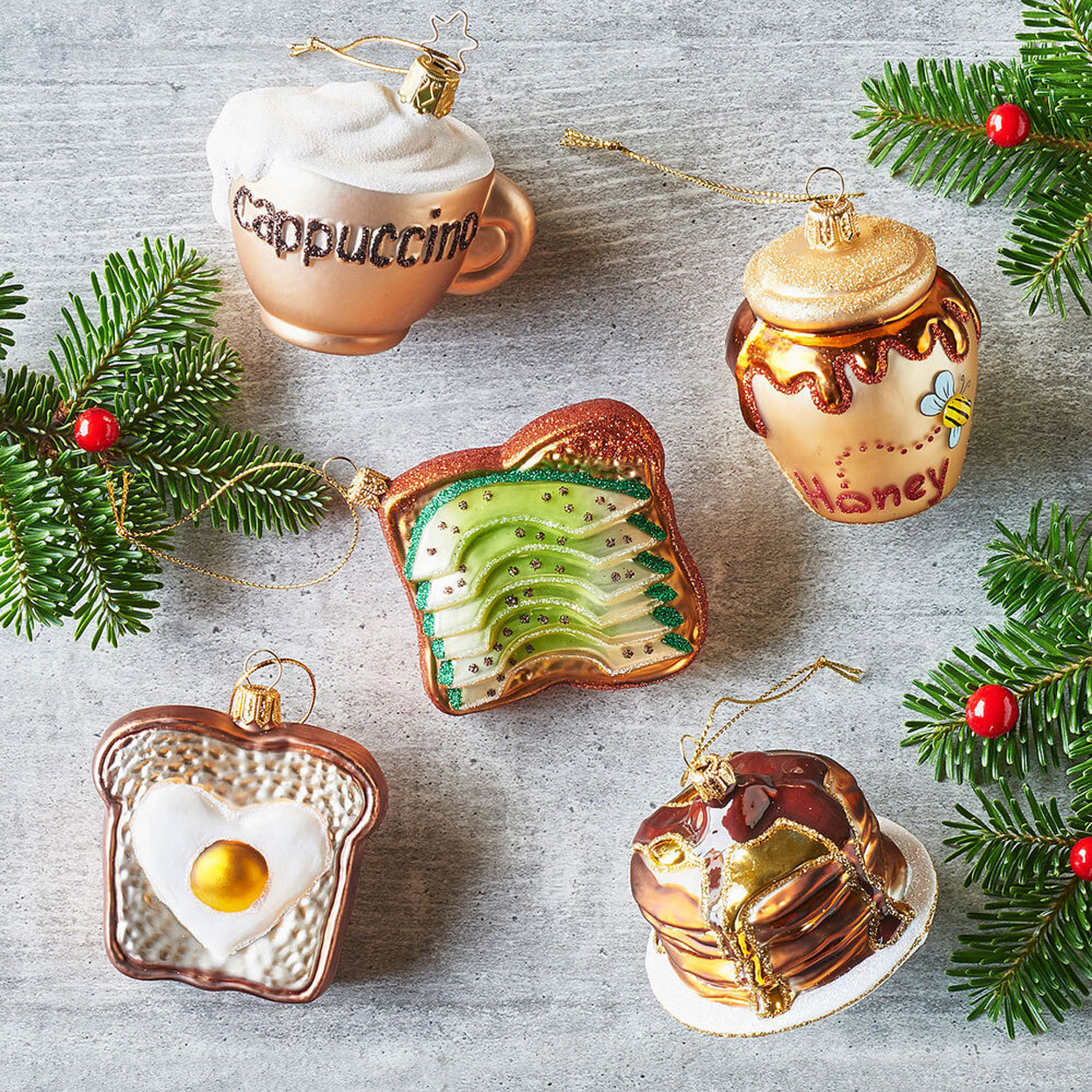 Food Christmas Tree Ornaments - latte, pot of honey, avocado toast, egg on toast, pancakes