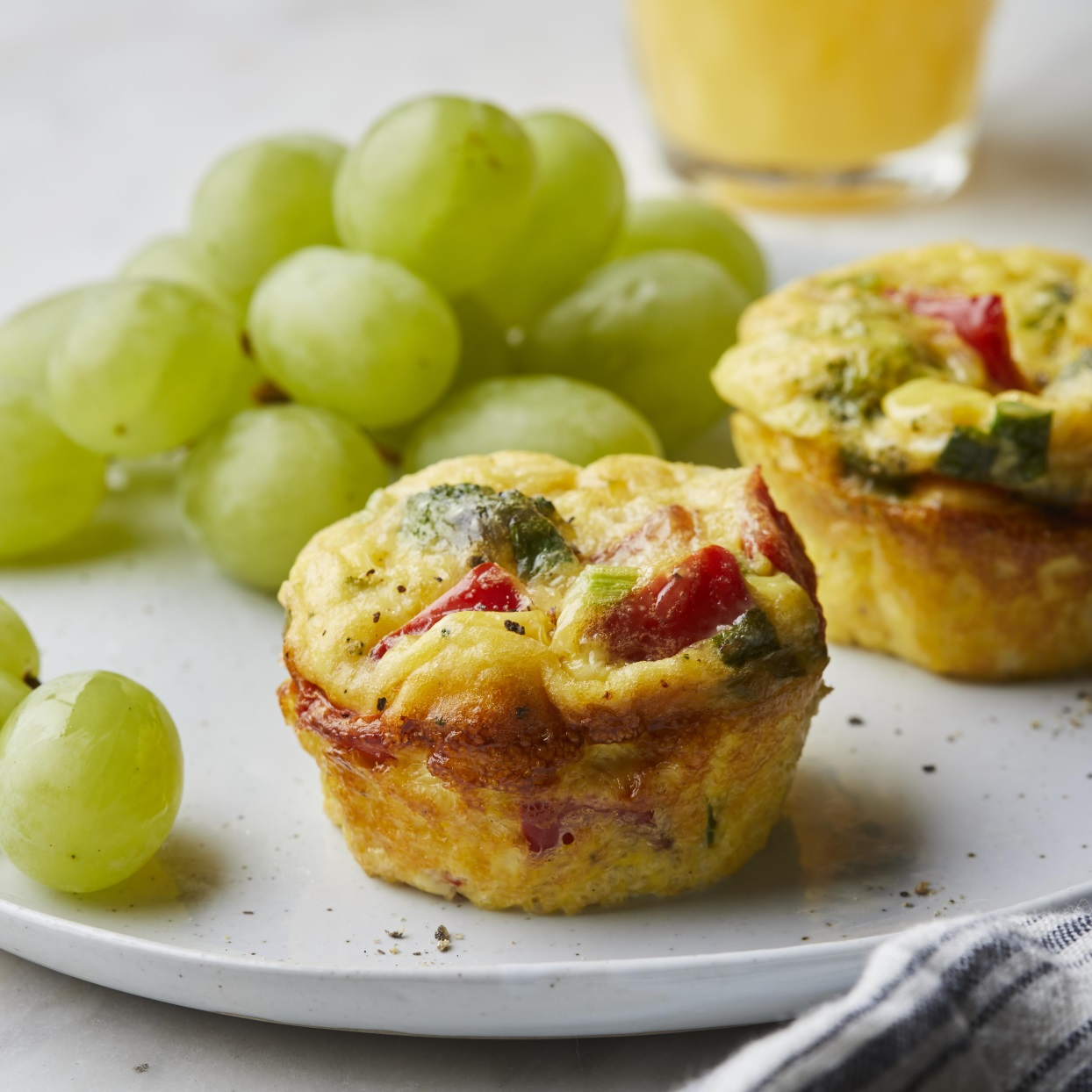 Parmesan & Vegetable Muffin-Tin Omelets with grapes
