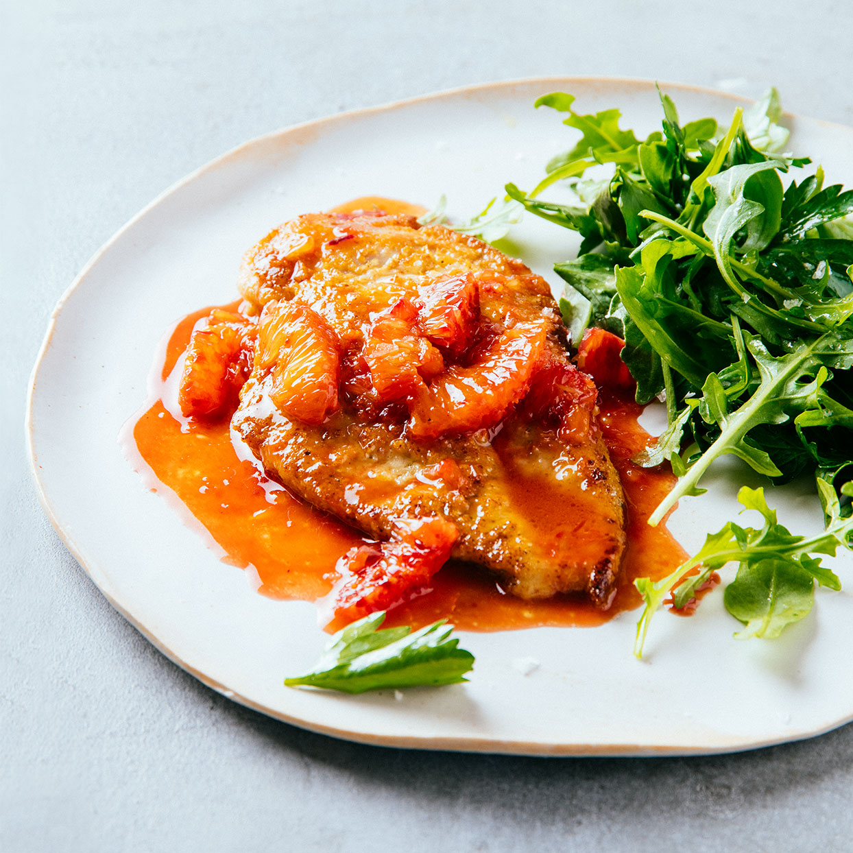 Chicken Paillards with Blood Orange Pan Sauce