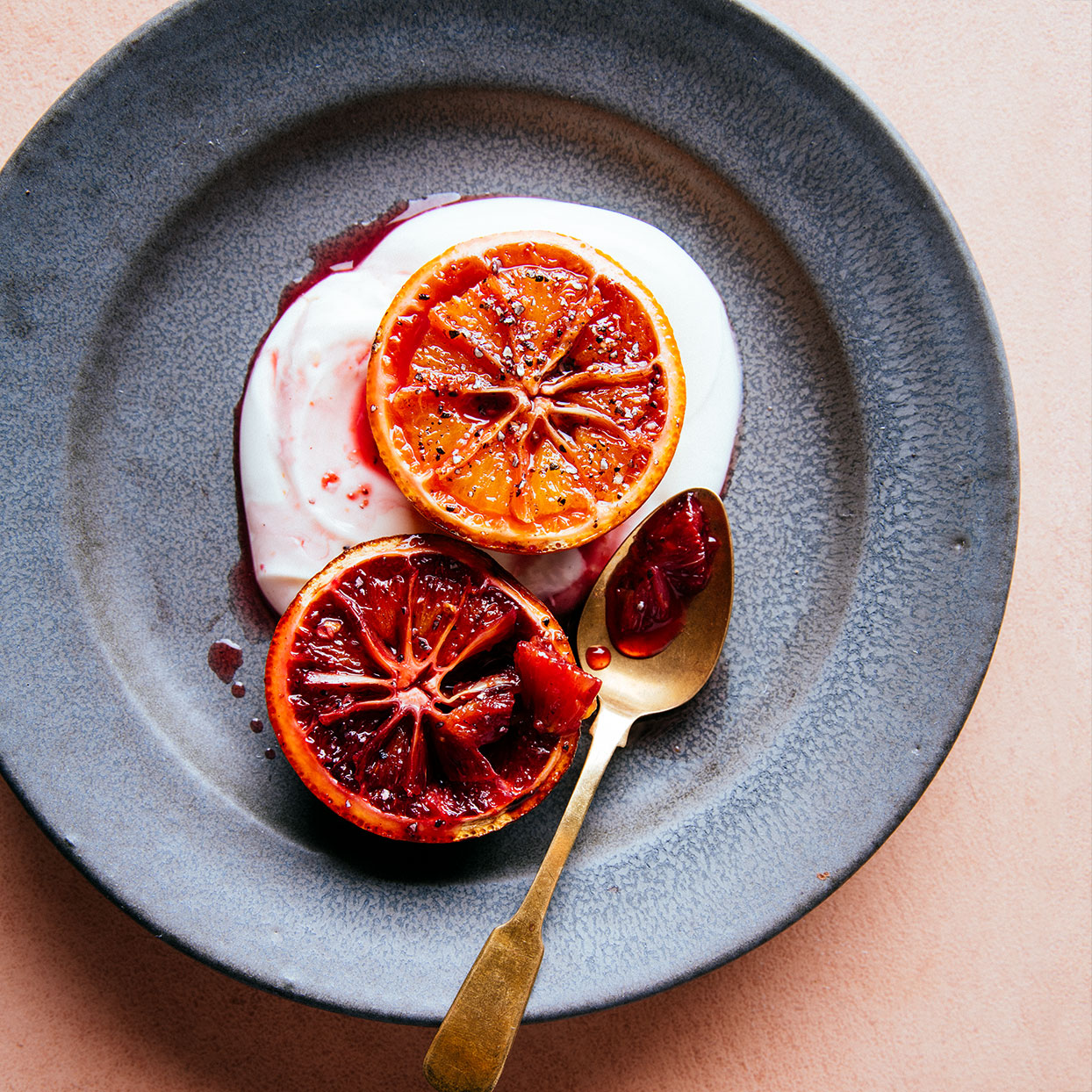 Brûléed Blood Oranges with Yogurt & Cardamom