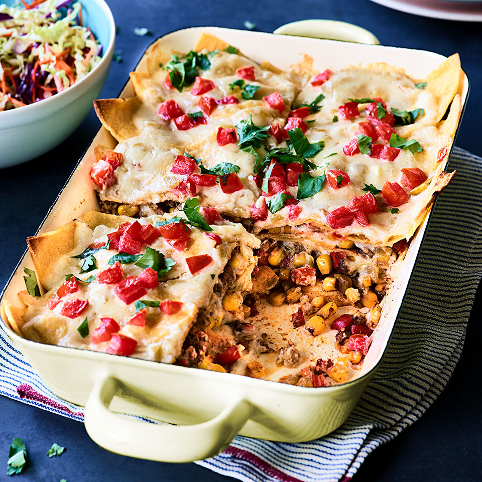 Cheesy-Beef-Enchilada-Casserole-with-toppings
