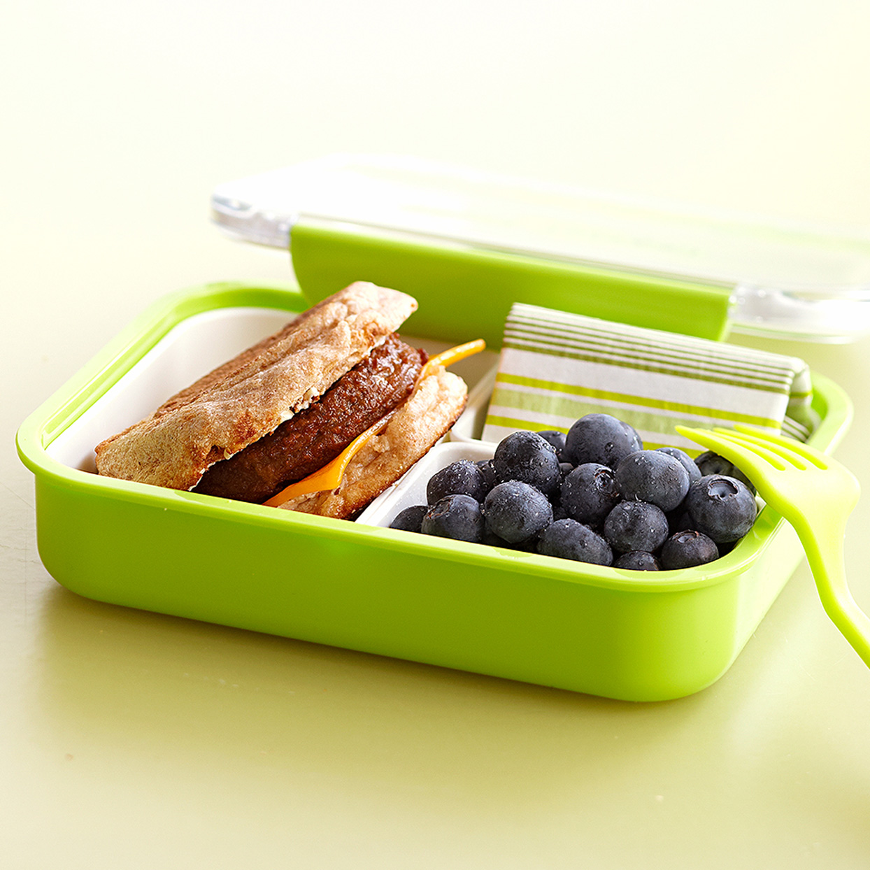 Sausage-&-Cheese-English-Muffin-Sandwich in lunchbox