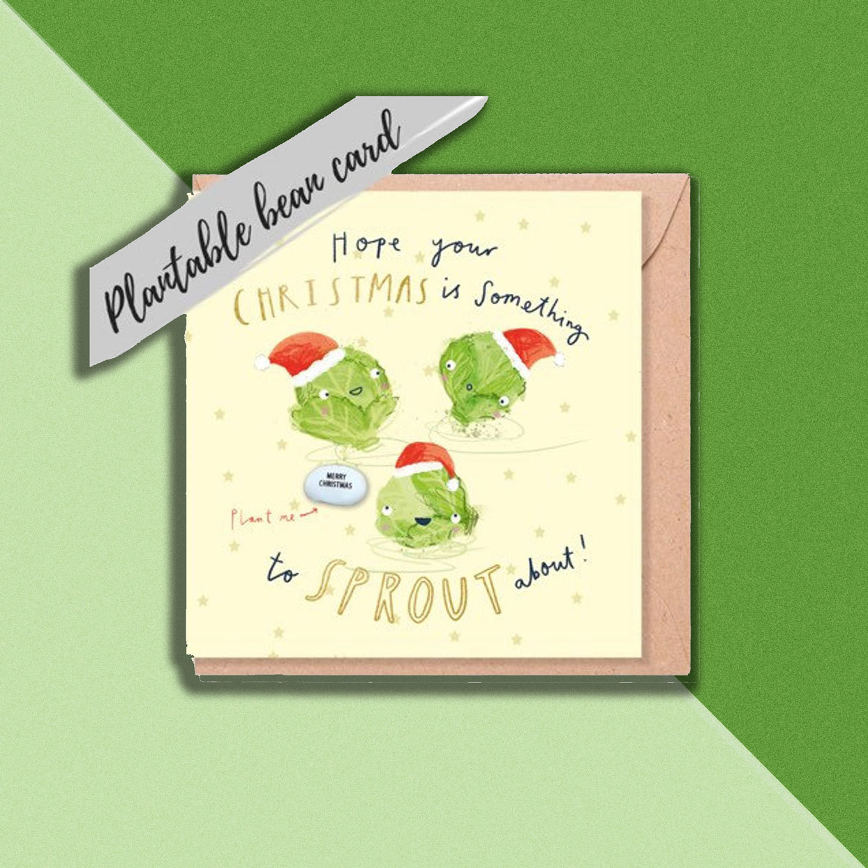 Plantable Brussels Sprouts Holiday Card on Green Background