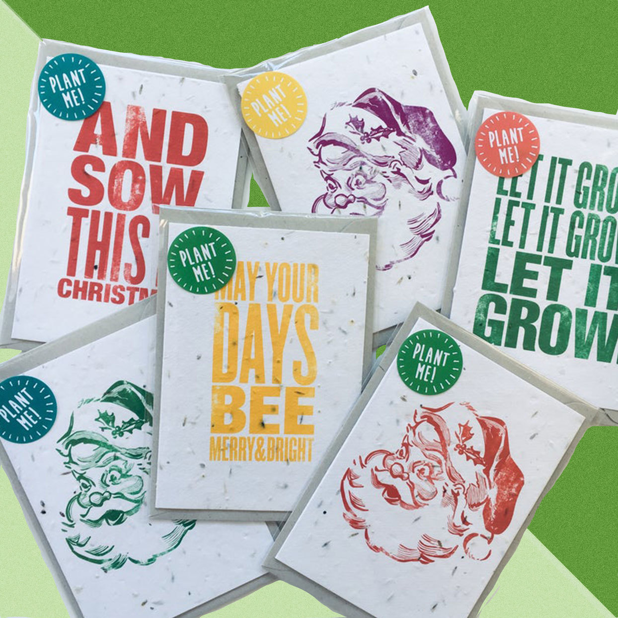 Santa Plantable Holiday Cards On Green