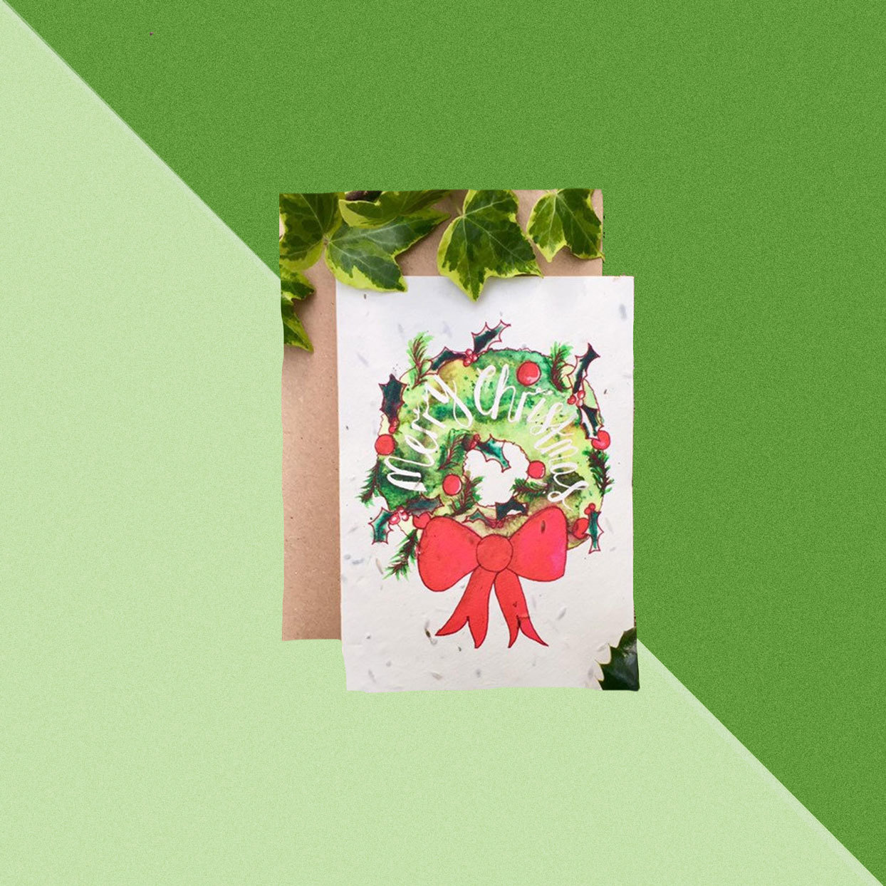 Plantable Christams Card with Green Background