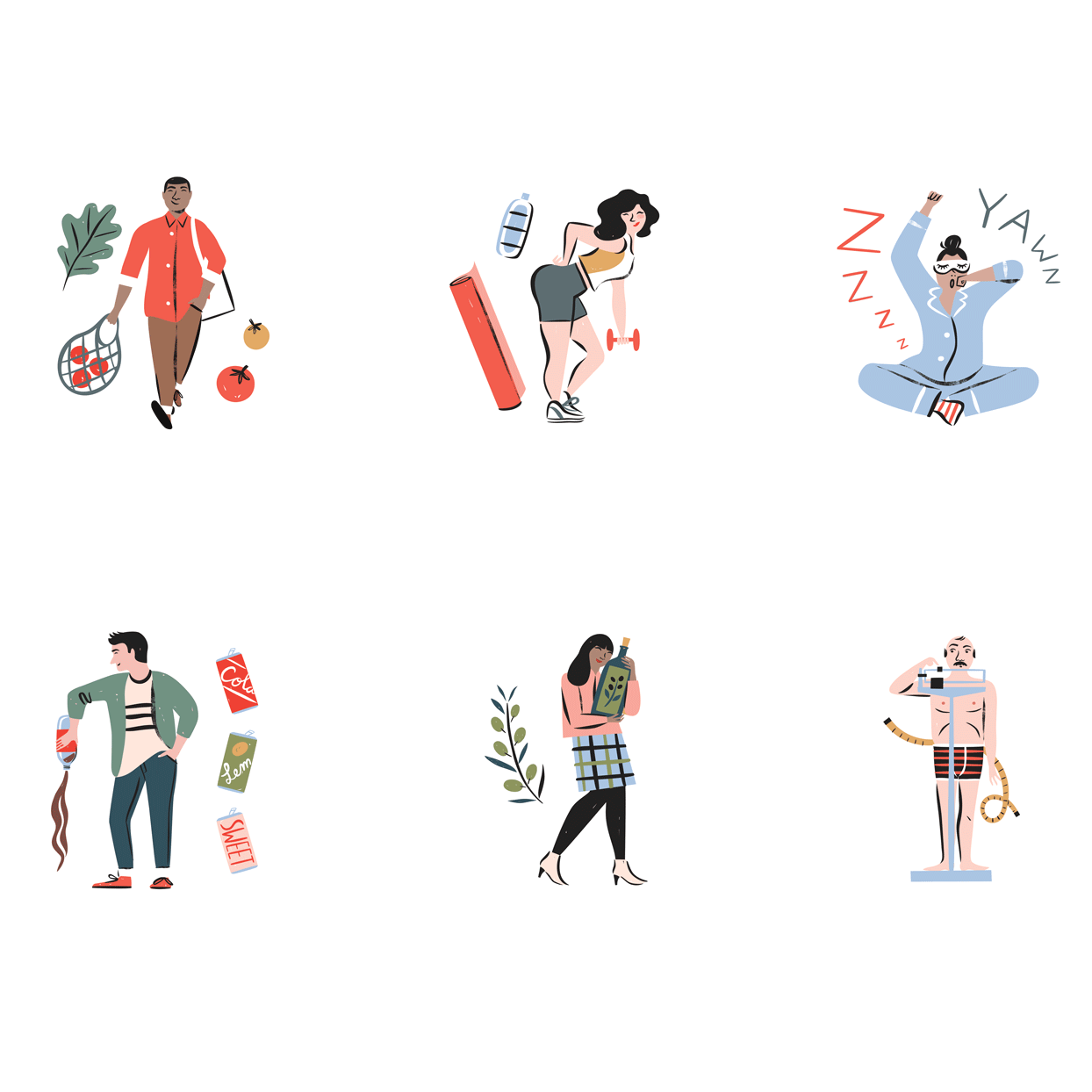 Illustration of various people doing healthy things