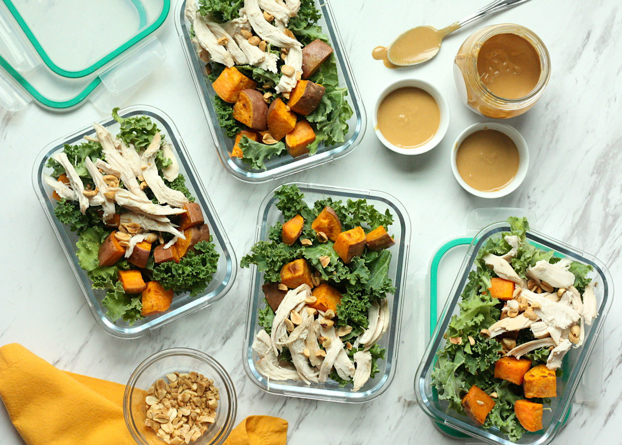 flat belly sweet potato, chicken and kale salads