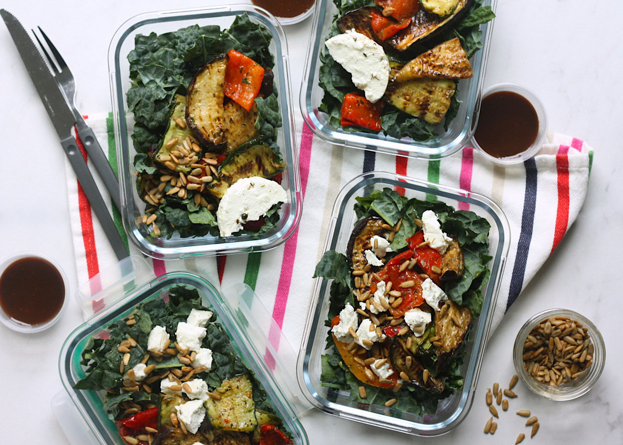 Grilled Vegetable Salads with Marinated Goat Cheese