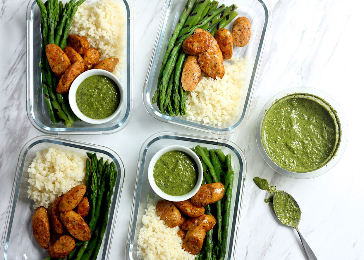 Cauliflower Rice Bowls with Grilled Asparagus & Chicken Sausage
