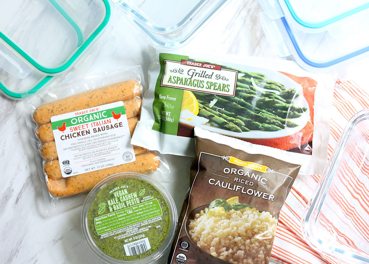 tips for meal prepping low carb lunches from trader joes