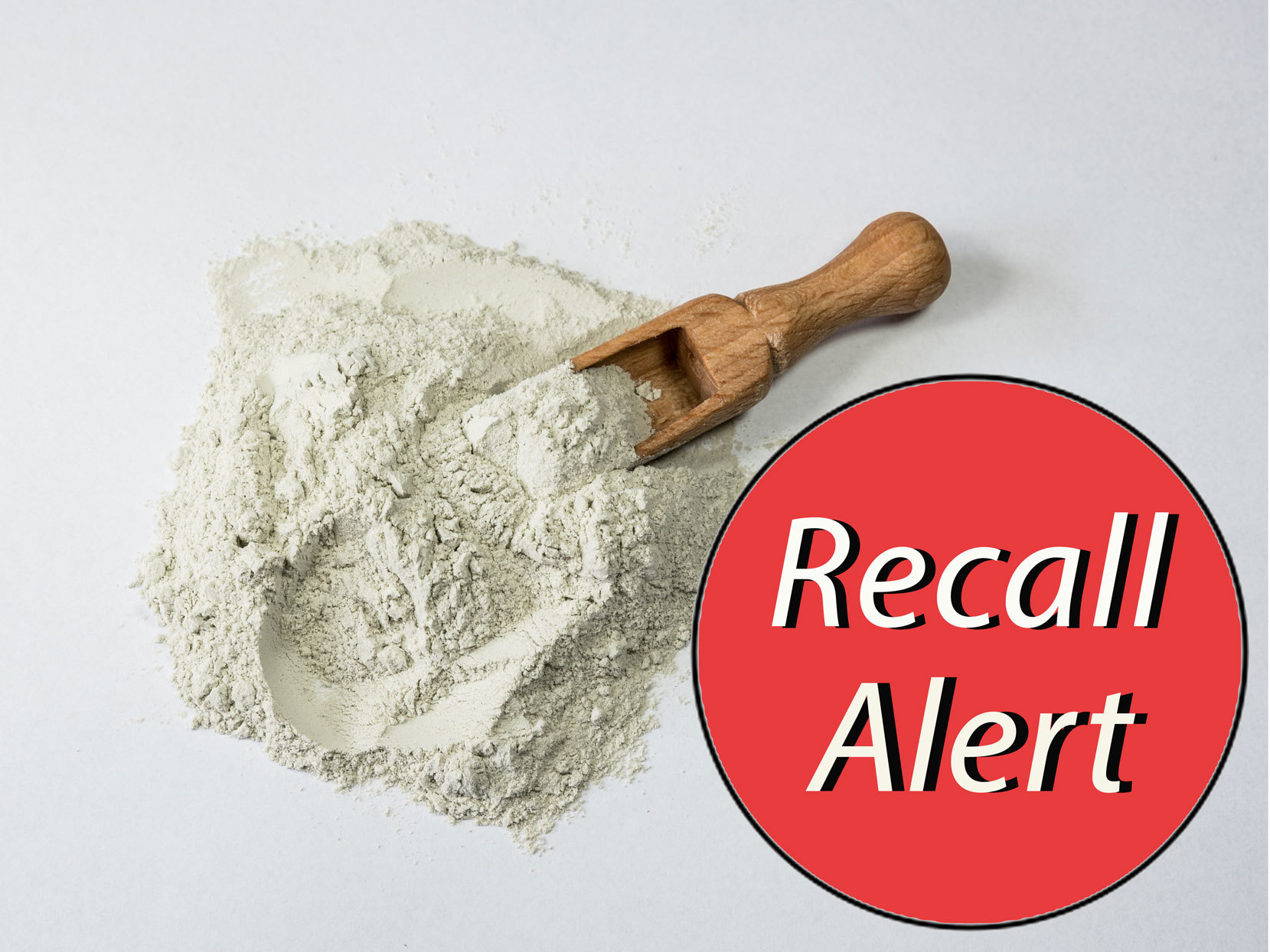 "Loose flour with red sticker that says ""Recall Alert"""