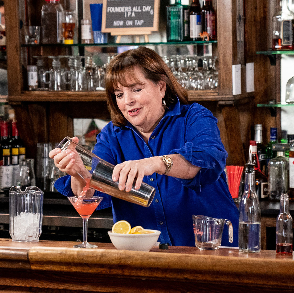 Ina Garten pouring a cocktail