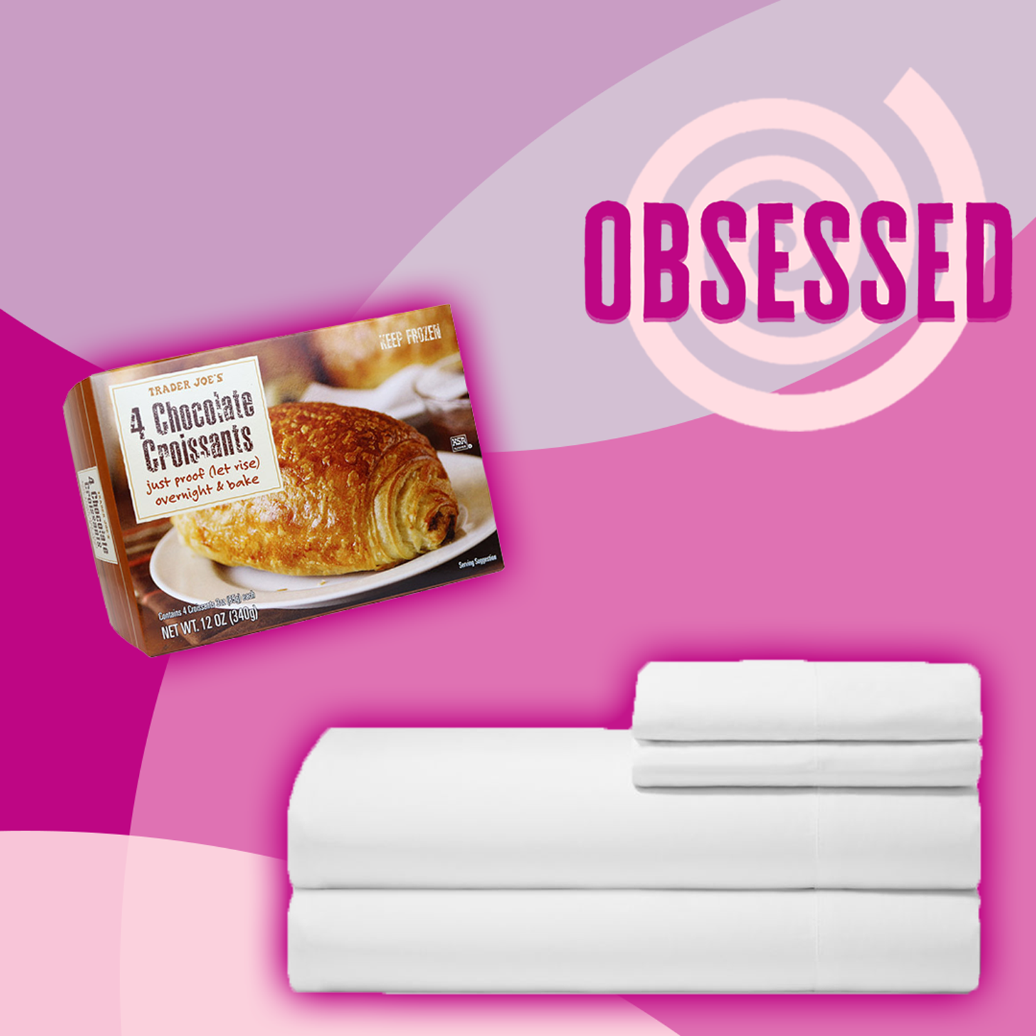 """box of croissants and white sheets with the word """"Obsessed"""""""