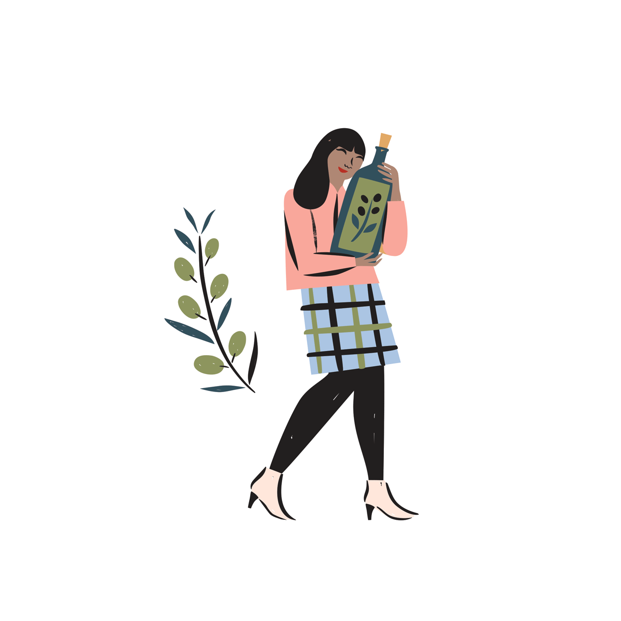 illustration of a woman holding a bottle of olive oil