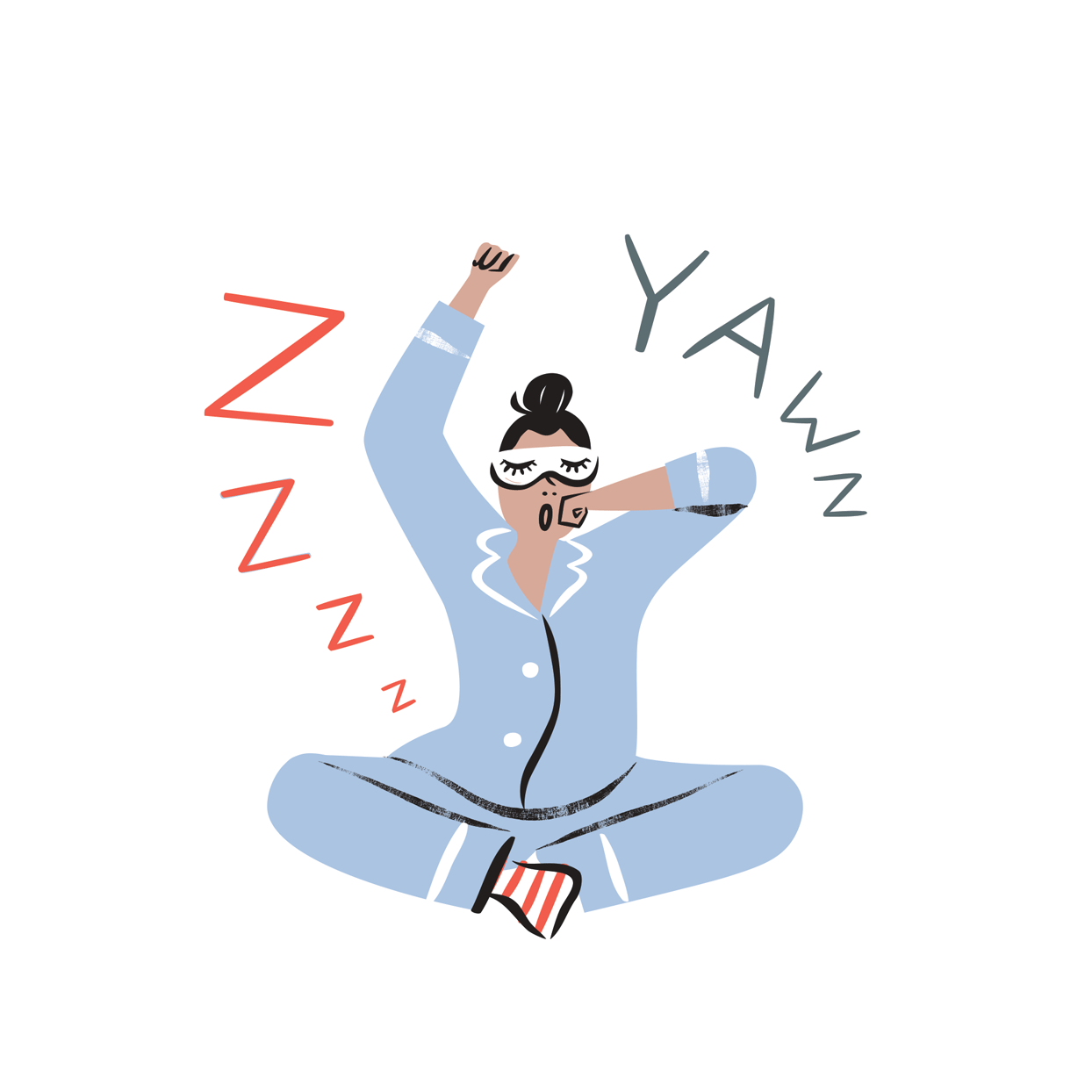 illustration of a woman yawning with pajamas and a sleep mask on