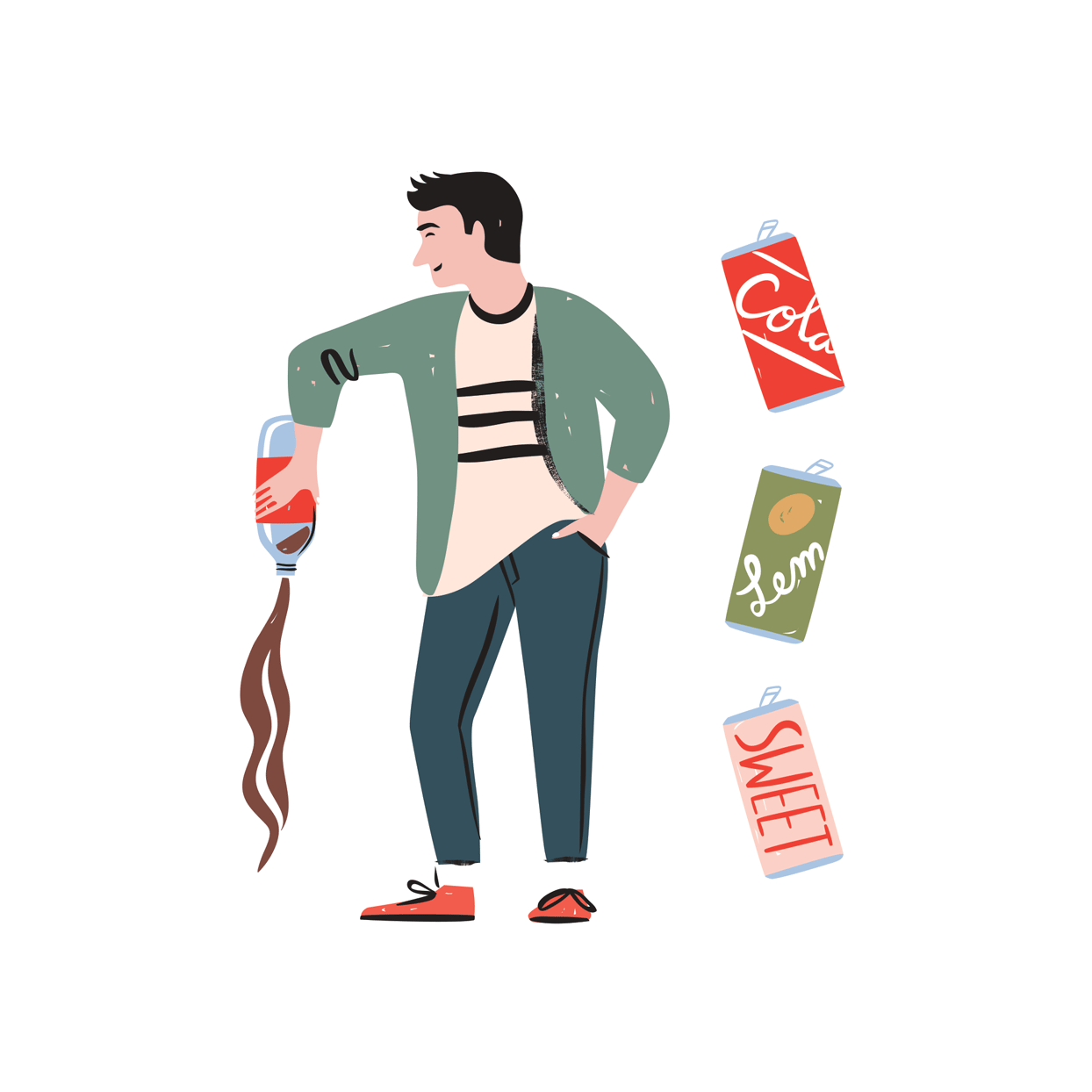 illustration of. a man pouring out soda bottle
