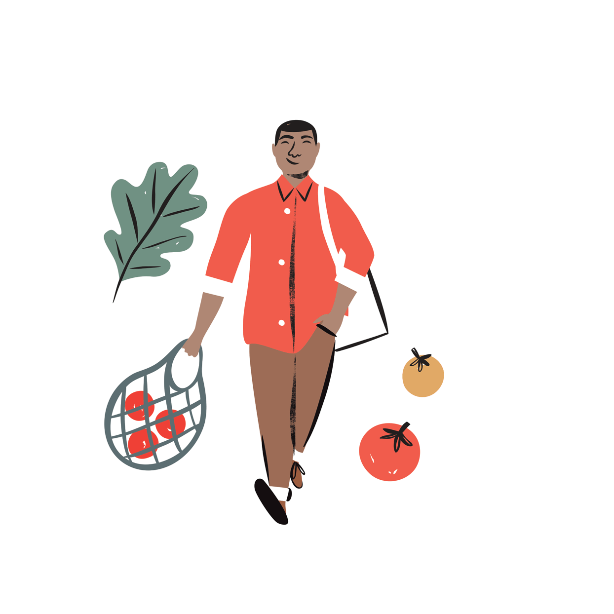 illustration of a person walking with a bag of vegetables