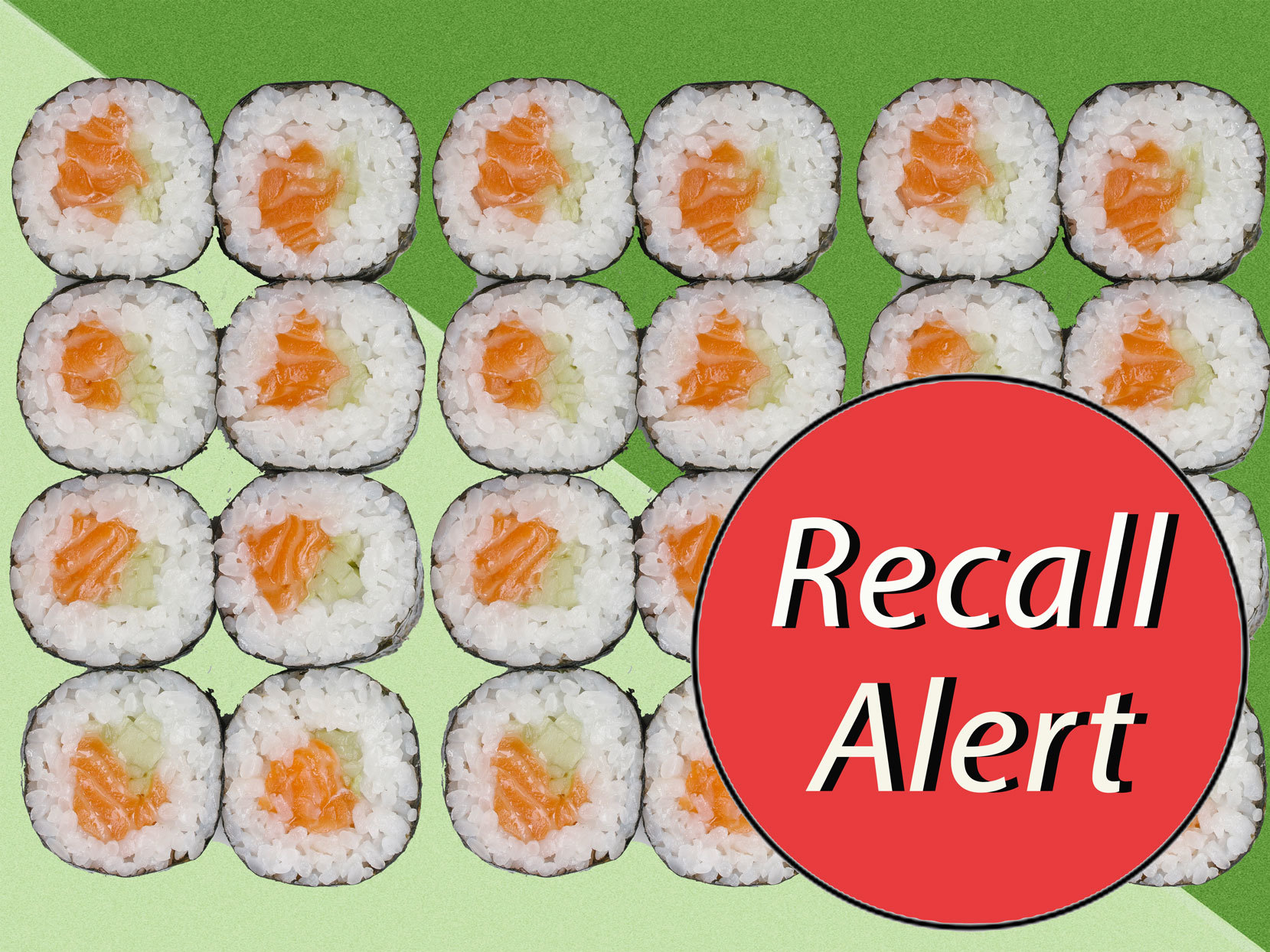 """Sushi rolls with red sticker that says """"Recall Alert"""""""