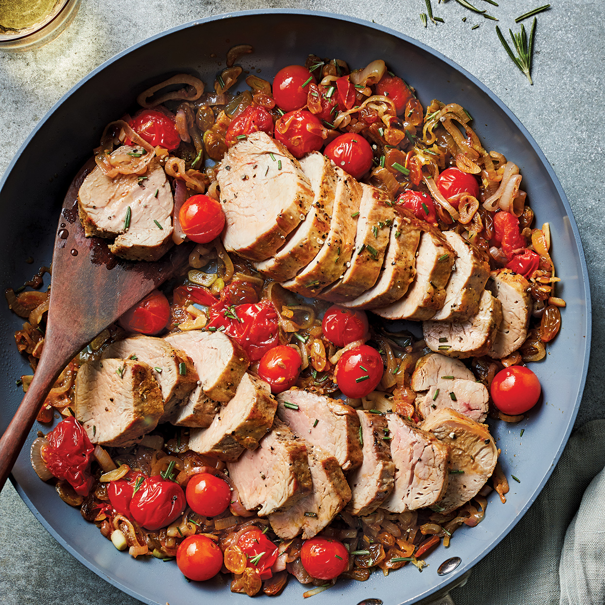 One-Pan Pork Tenderloin with Heirloom Tomato & Shallot Confit