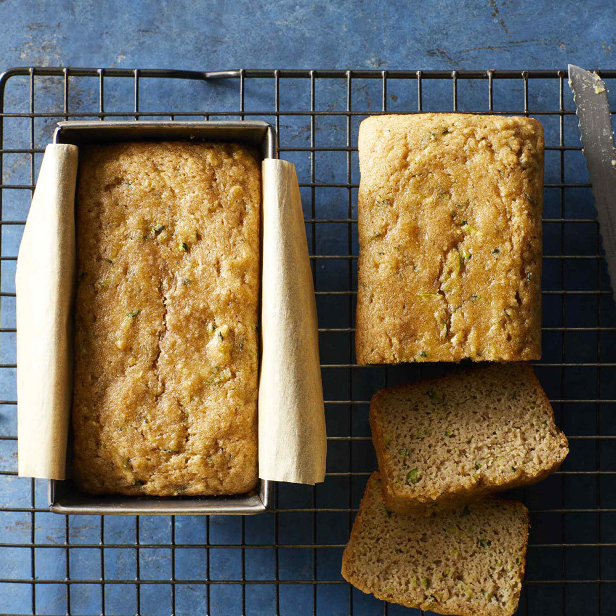 Almond Flour Zucchini Bread Loaf on Cooling Rack
