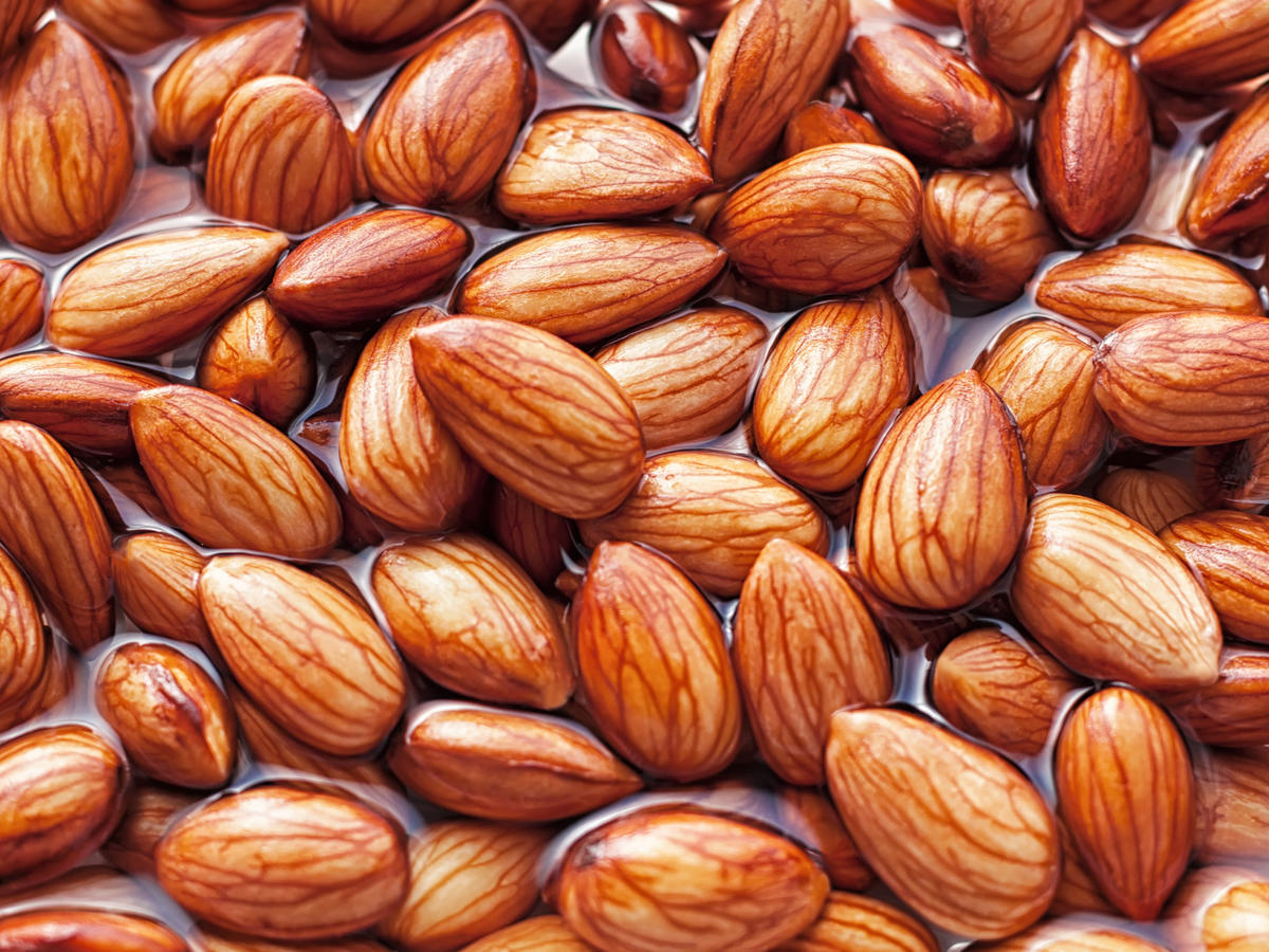 Almonds being softened in water to create almond milk