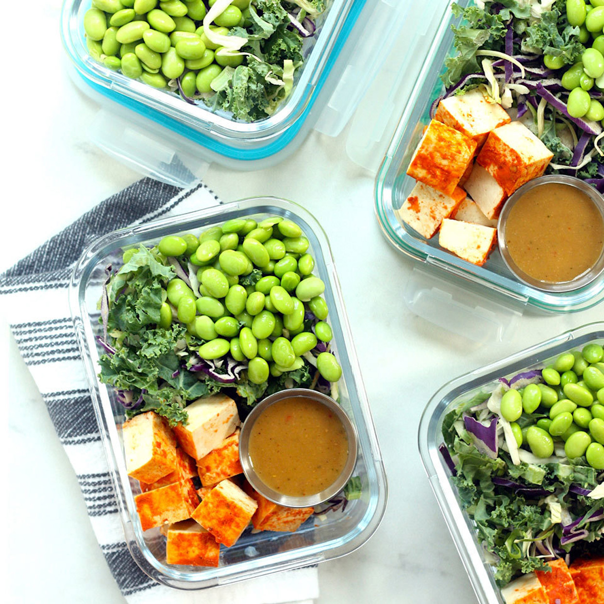 thai style chopped salad with sriracha tofu meal prep