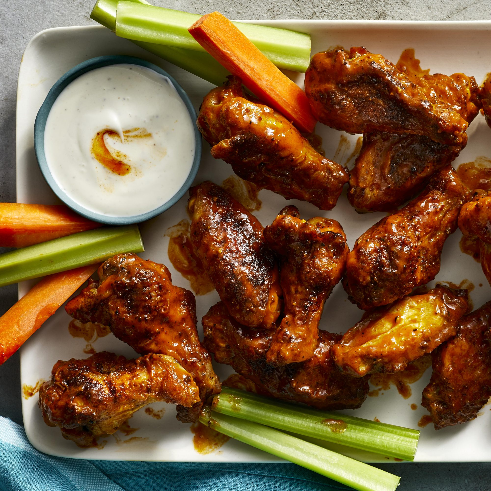air fryer Buffalo wings on a plate