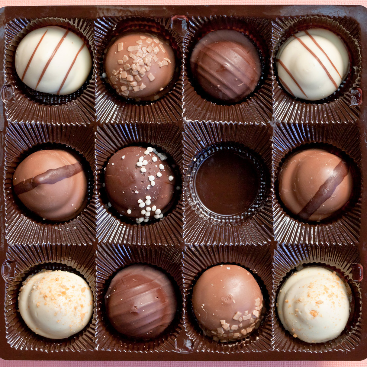 various chocolates in a box