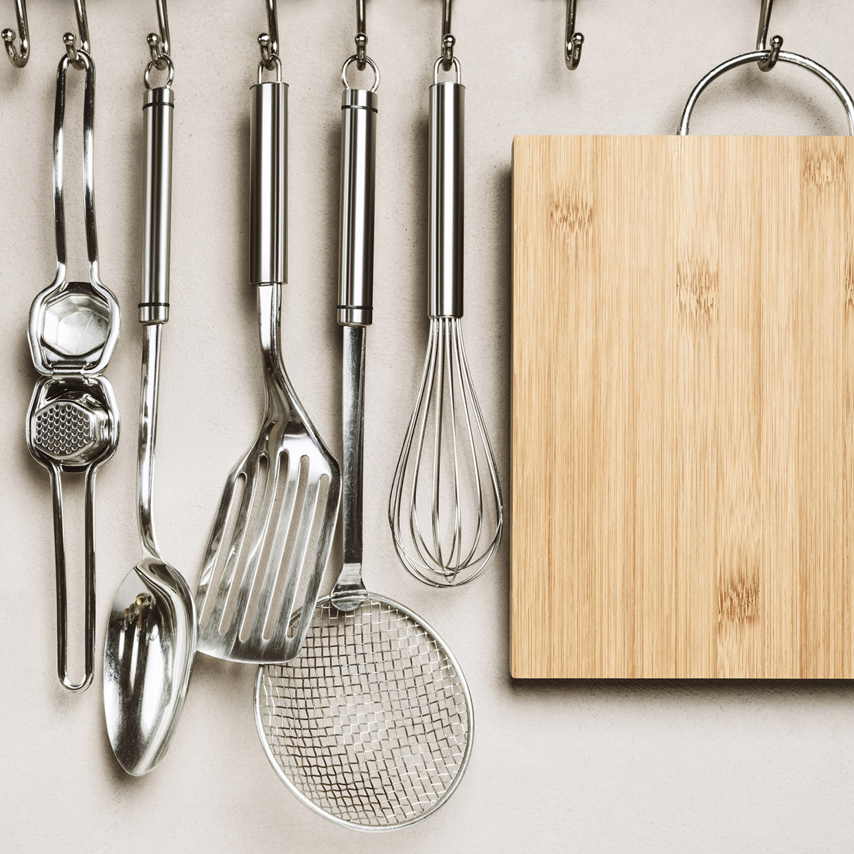 well organized kitchen utensils