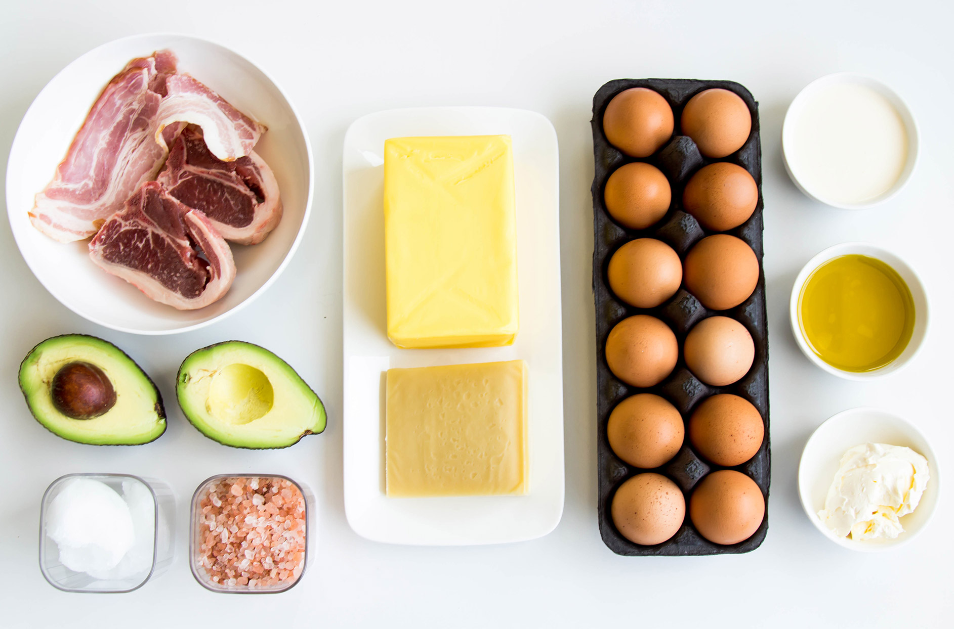 fatty meats, avocado, salt, butter, cheese, eggs, mayonnaise, sauces, creams