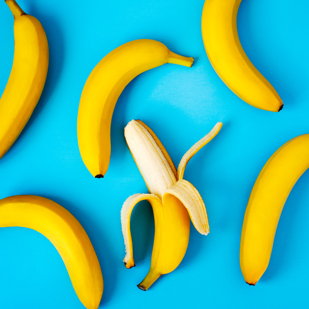 bananas against a blue background