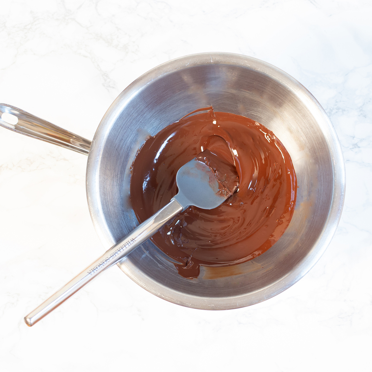 chocolate melted in double boiler