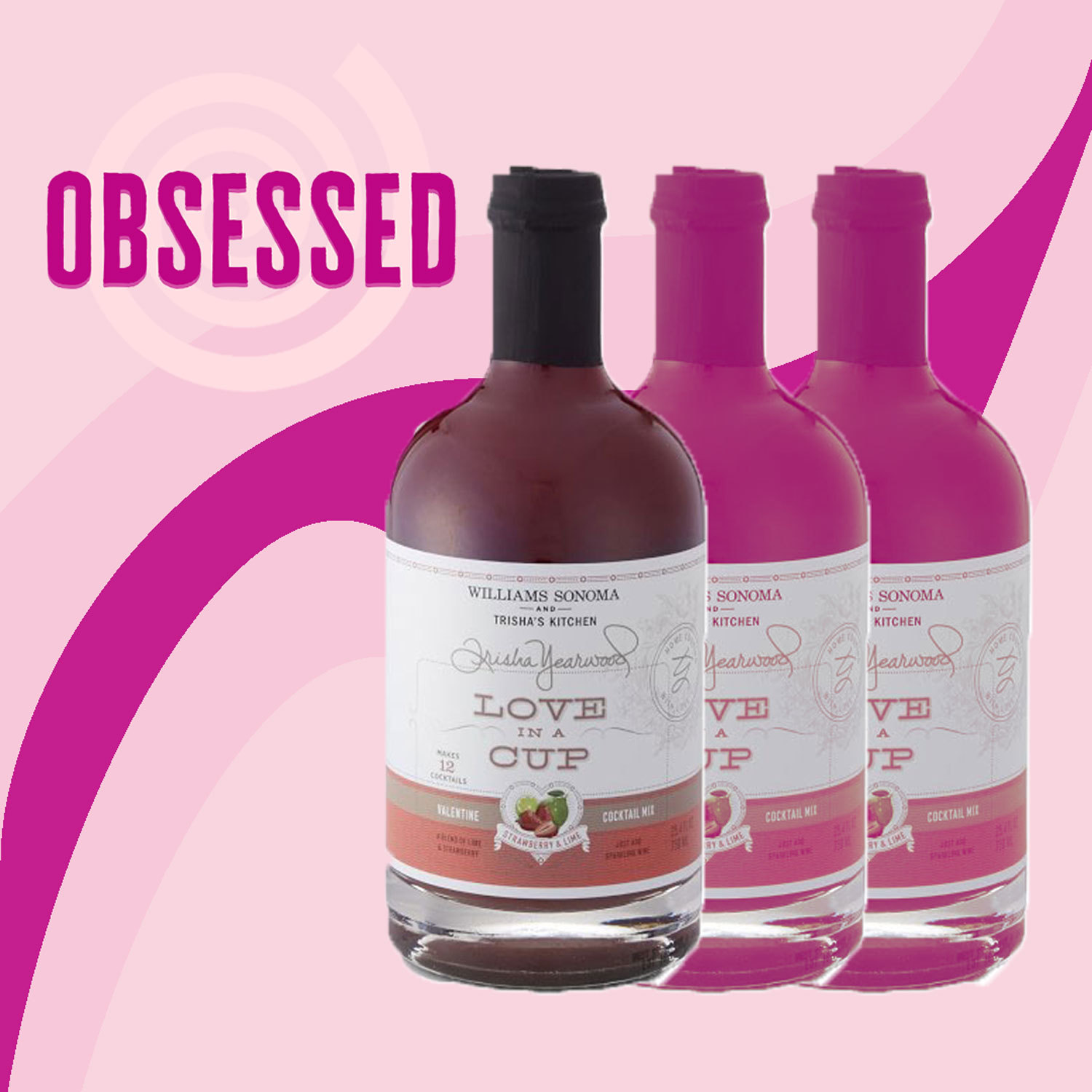 "Love in a Cup drink mix with pink graphics and the word ""Obsessed"""