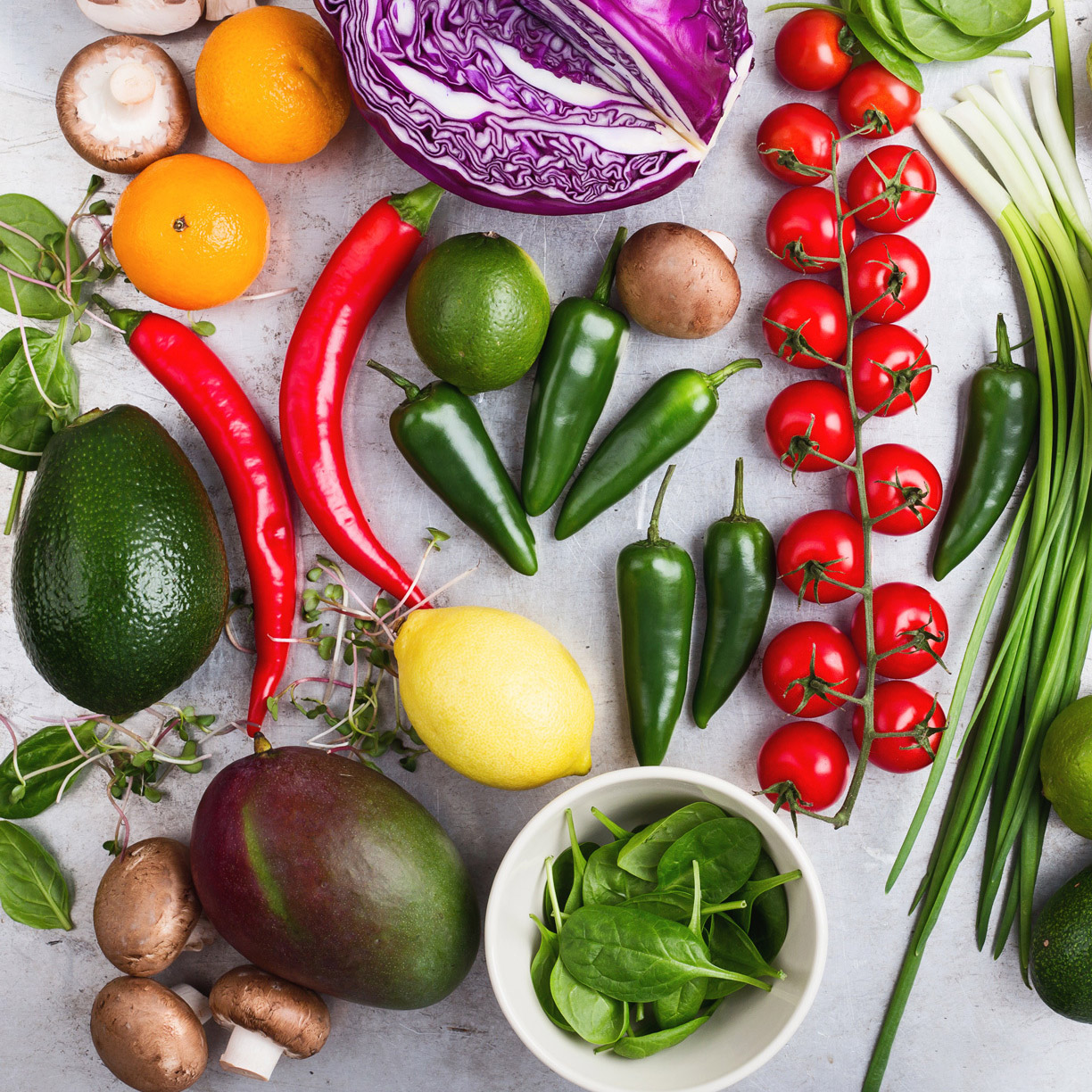whole fruits and veggies