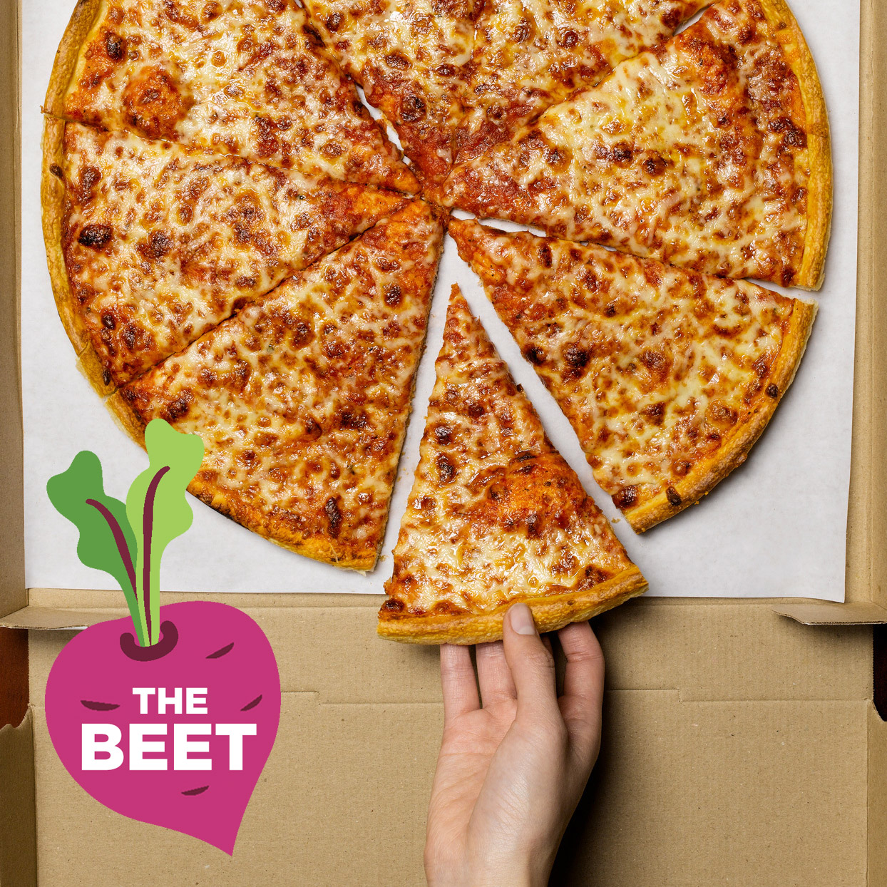 woman grabbing slice of cheese pizza from pizza box - The Beet