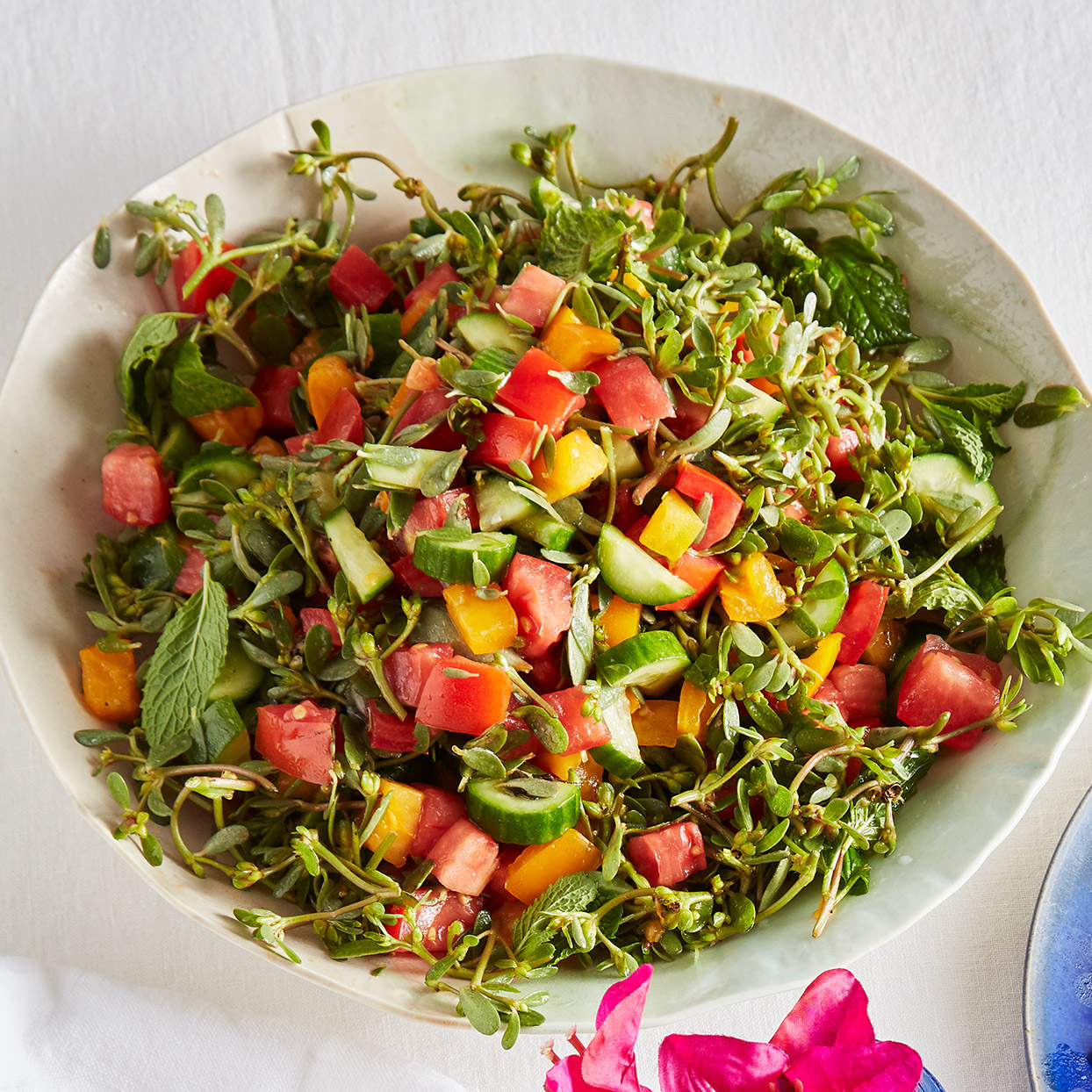Purslane, Cucumber & Tomato Salad with Mint