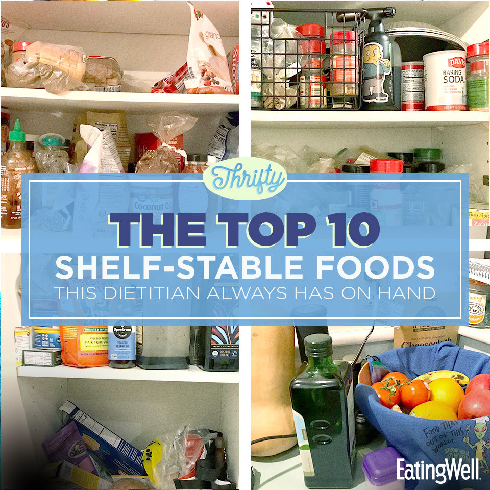 Thrifty - open pantry with many healthy food items