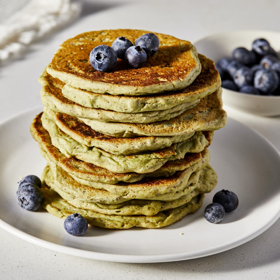 These tasty and attractive avocado pancakes are both vegan and gluten-free. The optional spirulina powder--made from algae--enhances the green color and can be found at natural-foods stores, some grocery stores and online. But feel free to omit it; the pancakes taste just as good without it. Top stacks with your favorite berries for a healthy breakfast that'll brighten your day. Source: EatingWell.com, May 2019