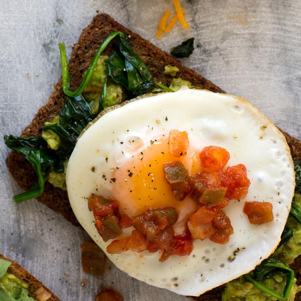 Avocado Toast with Egg, Spinach & Salsa