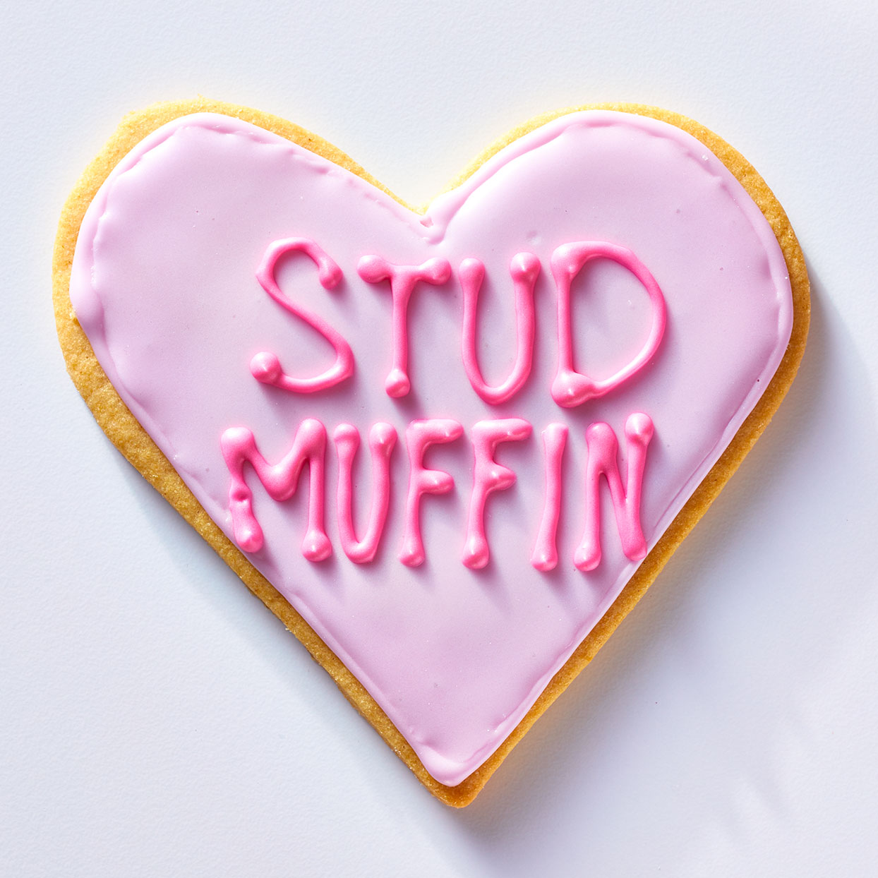 Stud Muffin Conversation Heart Cookie