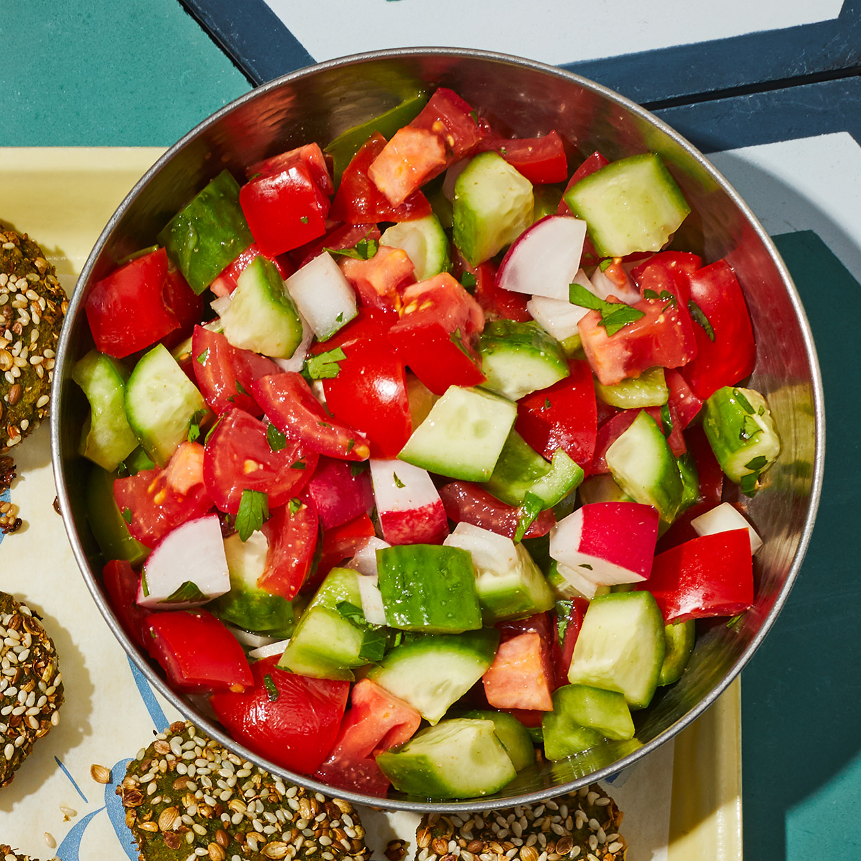 colorful tossed salad in a bowl